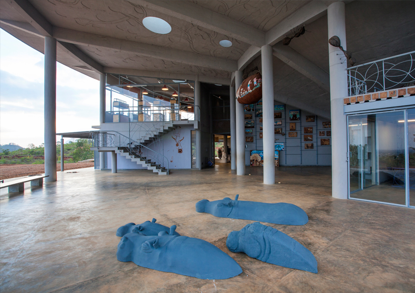 Art Installation of Concreted Hippos representing Water Scarcity